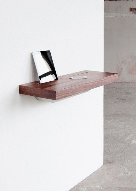 Sophisticated and Functional Stage Interactive Shelf For Apple Products: Small Floating Wooden Desk with Space for Ipad Ideas