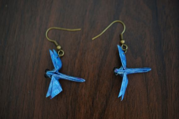 BIJOUX boucles d'oreil origami bijoux Animaux - Libellule