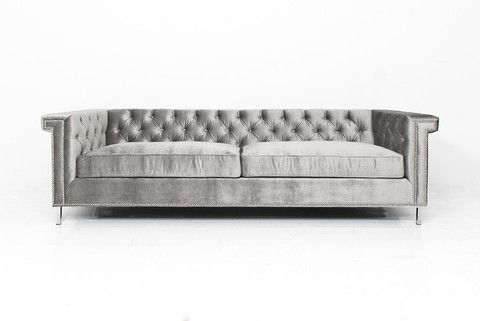 Sinatra Sofa in Brussels Silver Velvet