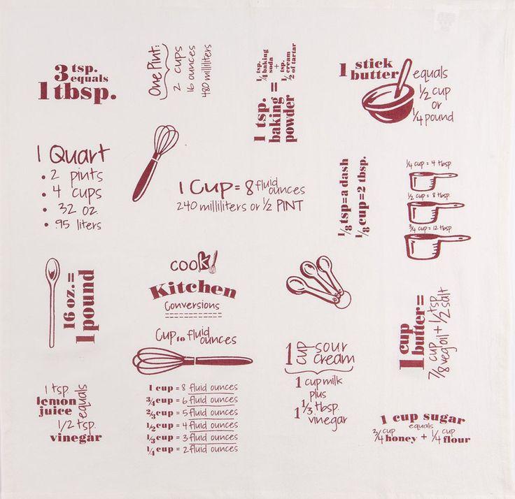 """Cook's Measurements, Cups, Spoons 100�0Cotton Wine Flour Sack Dish Towel / Tea Towel, 26"""" x 26"""""""