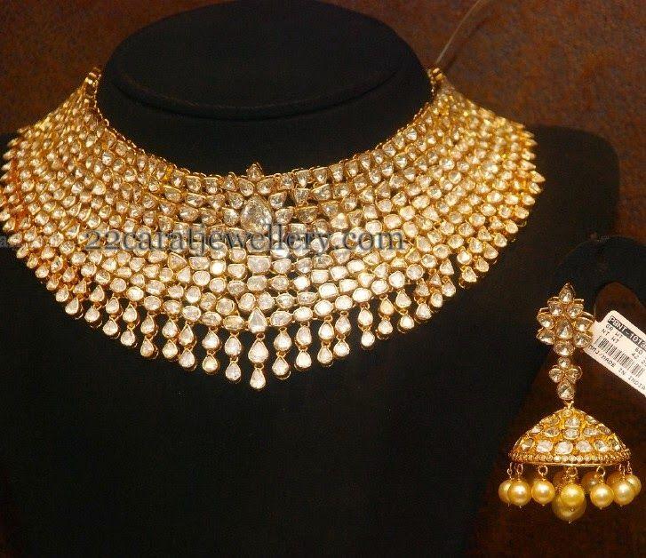 Jewellery Designs: Latest Kundan Choker and Jhumka