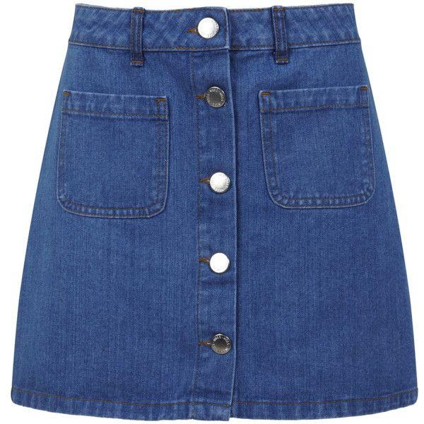 Miss Selfridge Mid Wash Denim Skirt found on Polyvore