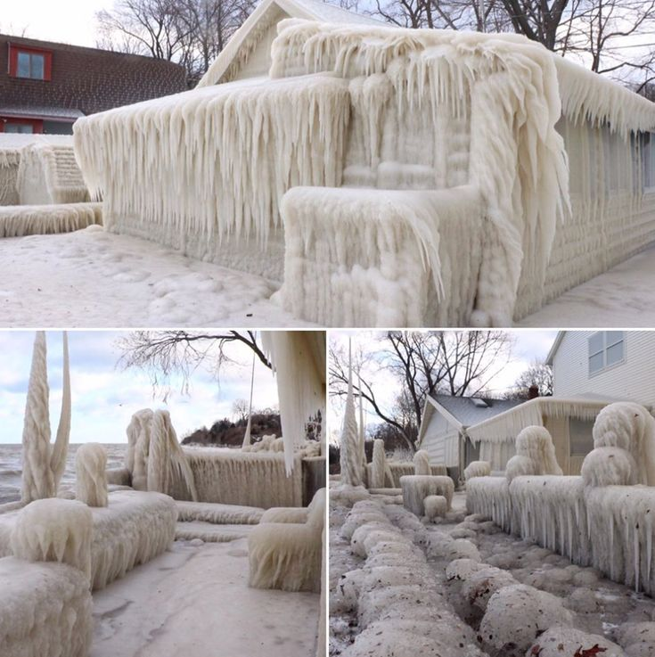 The perils of owning lakefront property in Upstate NY. 'Ice house' on Lake Ontario is frozen solid after 5 days of chilling wind