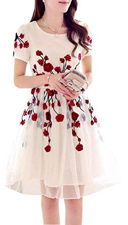 Jashvi Creation Women's Semi Stitched Georgette Cream Dress With Red Flowers: Amazon.in: Clothing & Accessories