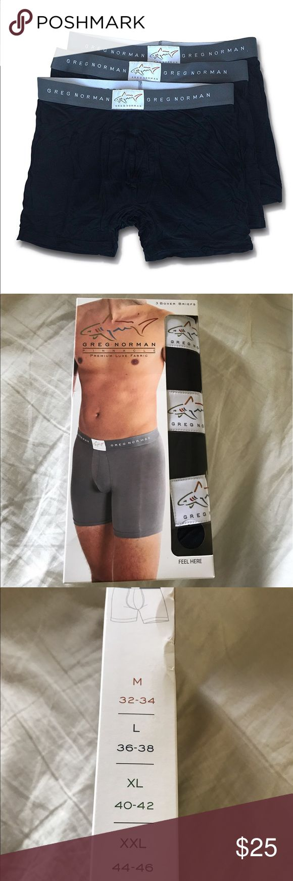 Greg Norman 3 Boxer Briefs Size XXL ( 44-46) Black Greg Norman Pinnacle Premium Luxe Fabric made of blend of modal and spandex. Combines luxury, comfort, and superior fit. modal and spandex 3 boxer briefs per box. Color Black Size XXLarge. Greg Norman Underwear & Socks Boxer Briefs
