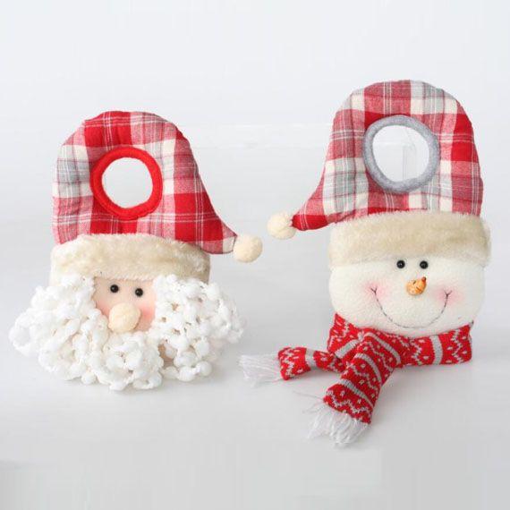 decoracin navidea para puertas para colgar de los pomos papa noel y mueco de nieve