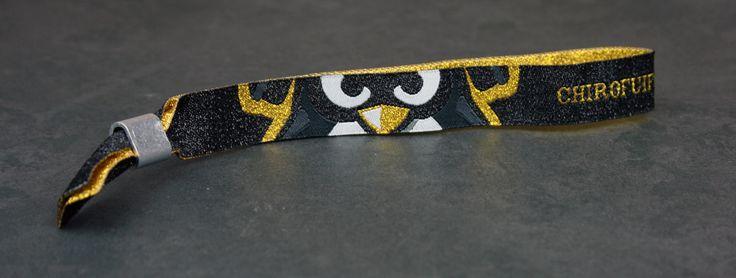 geweven textiel polsbandjes met zwart metallic + goud metallic garen