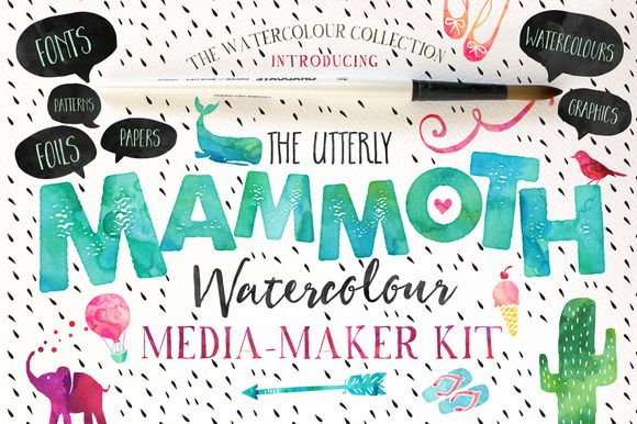 The Mammoth! Watercolour Kit by Nicky Laatz on Creative Market
