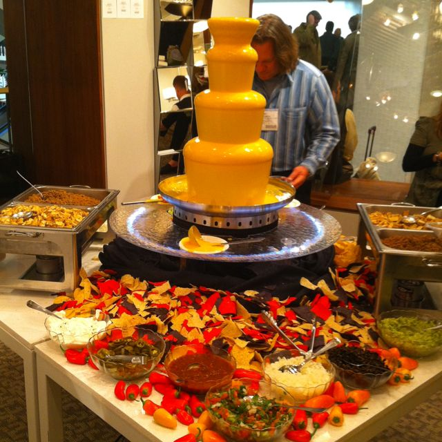 Oh my is that a nacho cheese fountain???Make your own nachos!