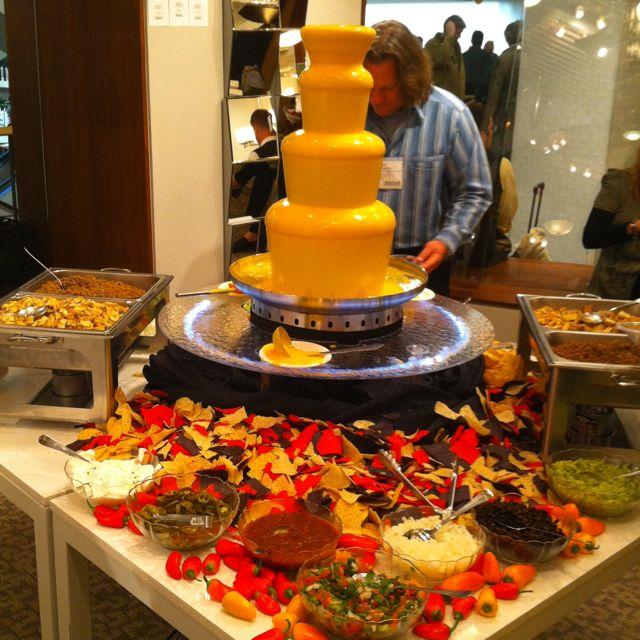 Oh my, is that a nacho cheese fountain???Make your own nachos!