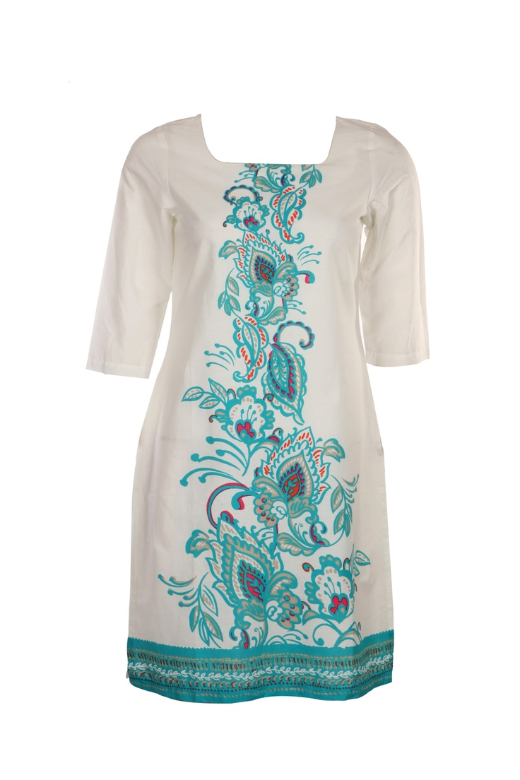 Redefining women's style. Simple kurta with cool refreshing colors.   #w #woman #fashion #style #kurta #simple #floral #print #cool #color #blue #clothing #wear #india #women