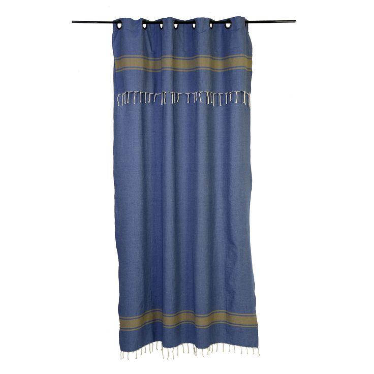 Rideau rayures horizontales, prêt-à-poser et modulable en hauteur de 2.10 à 2.40m ou de 2.50 à 2.80m, fond bleu avec des rayures taupes, en coton. Collection Casablanca CB4 - Fouta Futée