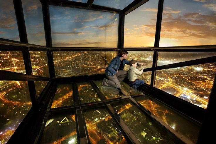 The Edge at Eureka Towers in Melbourne. A 3m glass cube extends over the edge almost 300m above ground.