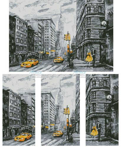 New York Abstract cross stitch chart
