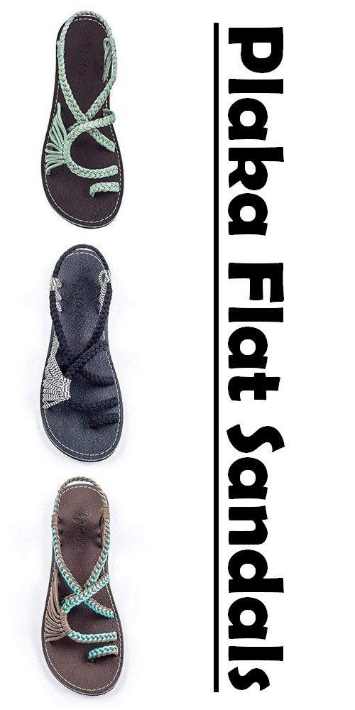 cbae7d100825 Plaka Flat Sandals for Women Palm Leaf Womens Fashion in 2019