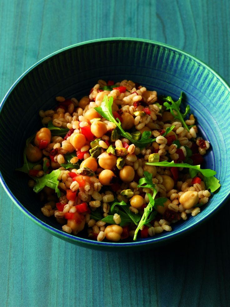 Toss together a few simple ingredients like barley, arugula, bell peppers, sun-dried tomatoes and chickpeas with a lemon-vinaigrette dressing, and you have a pack-able meal. This recipe from Cookin...