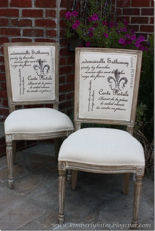 French script dining chairs