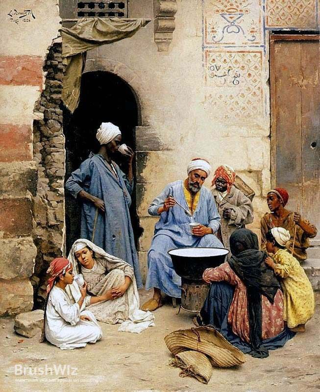 The Sahlab Vendor Cairo by Ludwig Deutsch - Oil Painting Reproduction - BrushWiz.com