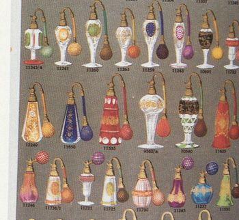 PALDA catalogue page, 1935, in book BOHEMIAN GLASS 1915-1945, cut glass perfume bottles