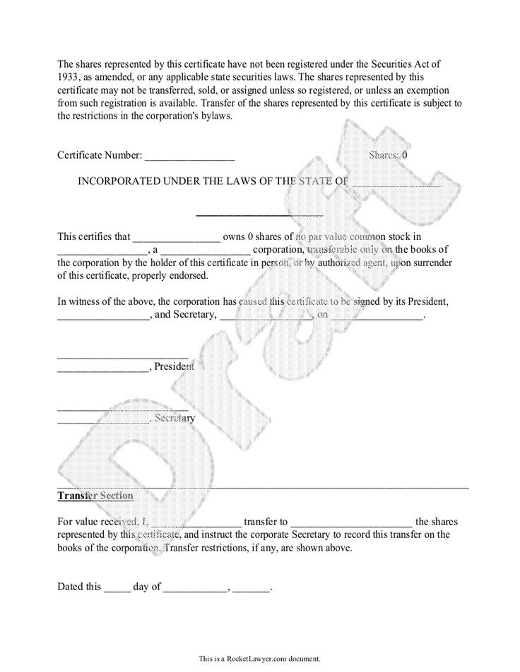 Corporate Stock Share Certificate (Template) Rocket Lawyer - Bylaws Templates