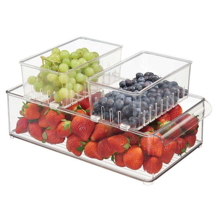 InterDesign® Fridge Binz Clear Stackable Berry Basket