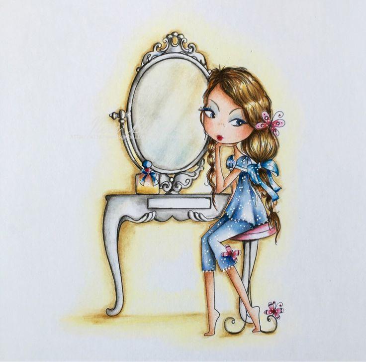All Dressed Up stamps/ digi/ stamp/Wendy Burns/ Polychromos pencils/ Ness Butler/ mirror mirror/