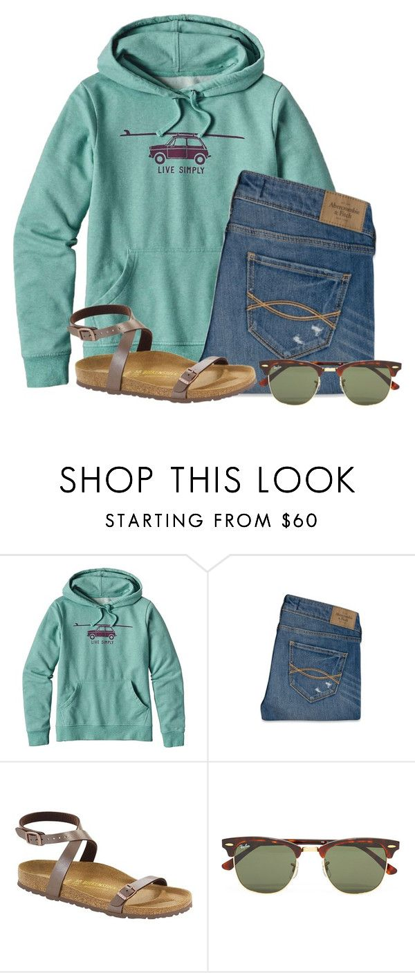 """""""Comfy Friday"""" by flroasburn on Polyvore featuring Patagonia, Abercrombie & Fitch, Birkenstock and Ray-Ban"""