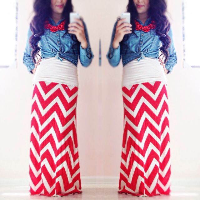 Soooooo cute! Red Chevron Maxi Skirt! Love this outfit