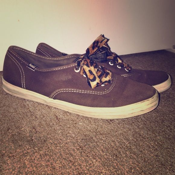 Keds sneakers with leopard laces Dark brown canvas with velvet laces keds Shoes Sneakers