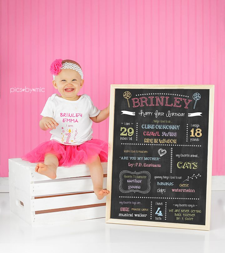 Pics-By-Mic | New Caney Texas | Baby & Child Photographer, one year old girl, first birthday, first birthday pictures, chalkboard, one year old, 1st birthday, #pinterest, #cakesmash, #1st birthday