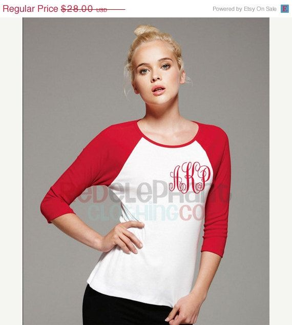 SALE Monogrammed Raglan Tee for Ladies, Monogram Raglan Shirt for Adults, Personalized Raglan Shirt, Three Quarter Sleeve