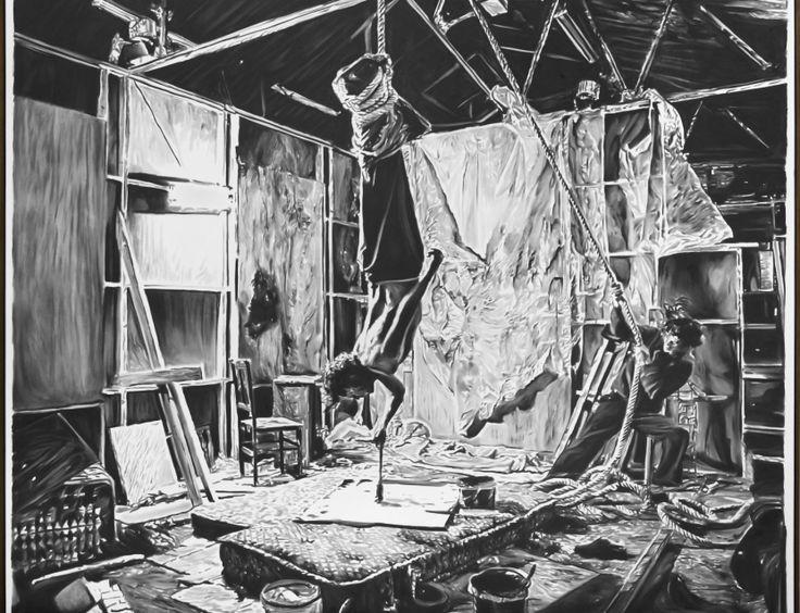 Ziezo. | Samen Verkies je samen of alleen? Ben jij een samen werker of samenwerker? Met een knipoog naar Rinus Van de Velde (Afbeelding: Rinus Van de Velde, 'An investigation into the hyperpersonal …,' 2015, 210 x 250 cm, charcoal on canvas, artist frame, courtesy Tim Van Laere Gallery, Antwerp)
