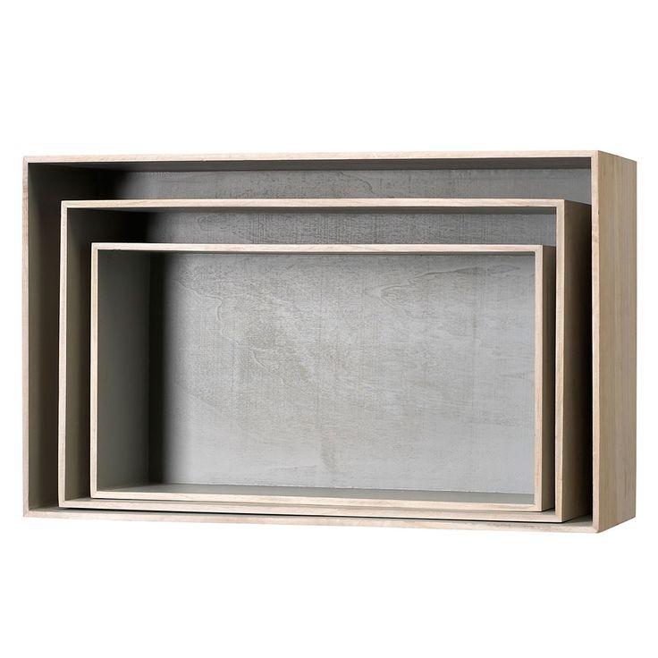 Wood+Storage+3pcs,+Grey,+Bloomingville