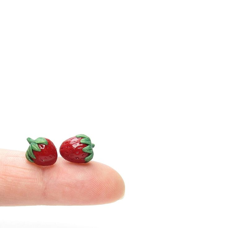 Miniature polymer clay strawberry earrings