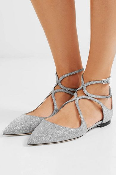 1e84fb893 Jimmy Choo | Lancer glittered leather point-toe flats | NET-A-PORTER.COM