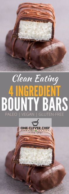 This is a copycat recipe of the good old bounty (or mound) bar! This homemade version of the classic is made with only 4 ingredients, no-bake, refined sugar-free, low-carb and super healthy. Entirely Paleo, Vegan and Gluten-free, these simple and easy to make chocolates are compliant with most popular diet trends. Raw version also available. Coconut lovers rejoice! Onecleverchef.com