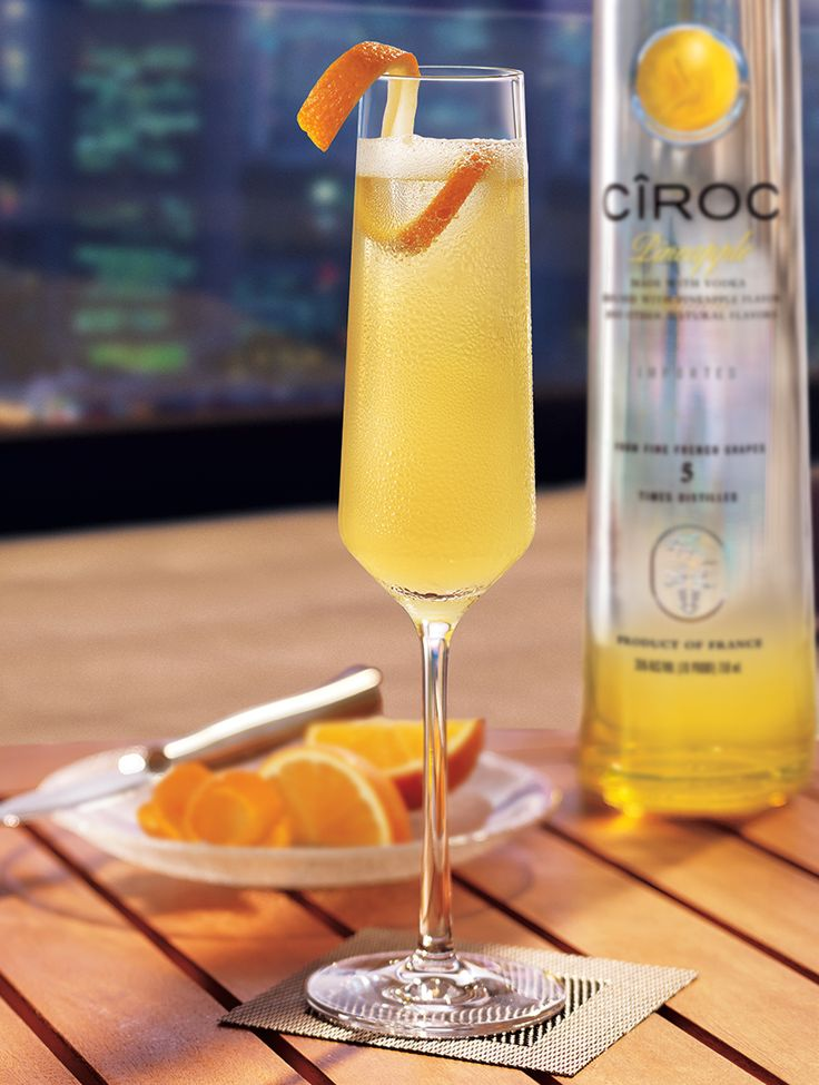 Have an extra sweet toast with the Cîroc Pineapple Mimosa! Mix 1.25 oz. Cîroc® Pineapple, 0.5 oz. lemon juice, 0.5 oz. orange juice, 0.5 oz. pineapple juice, 0.5 oz. honey, and garnish with an orange peel.