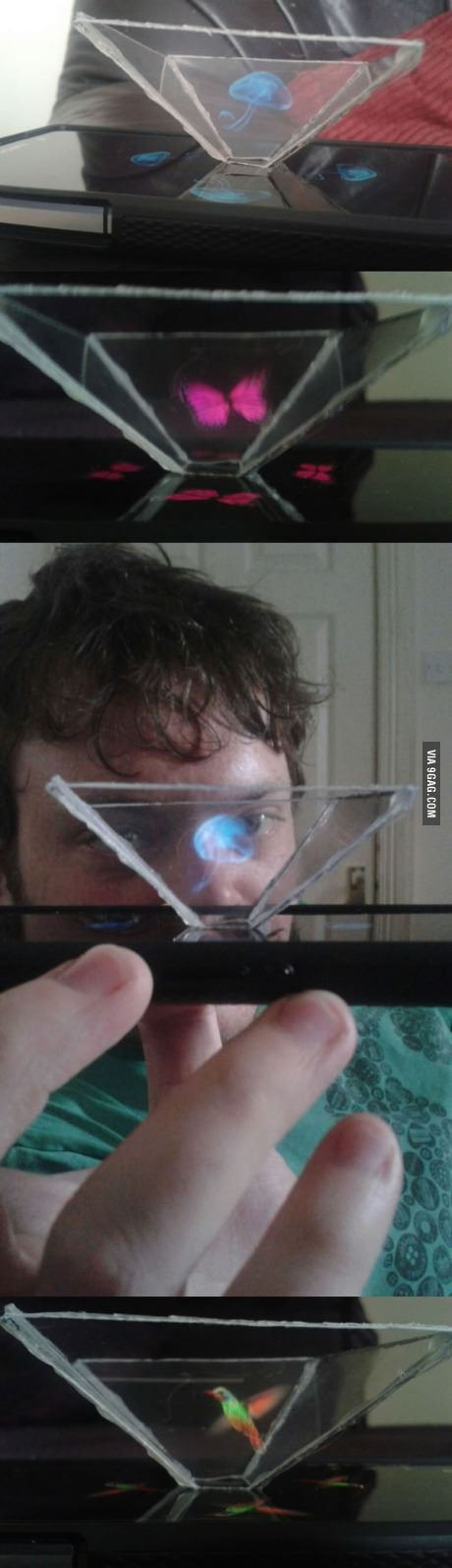 This guy tried DIY that 3D hologram phone device