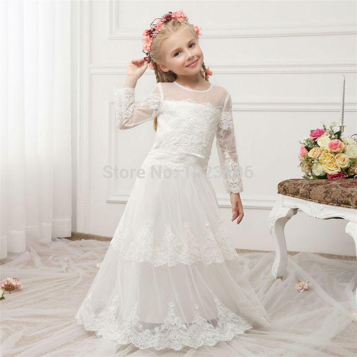 Neu Spitze Mädchen Prinzessin Festzug Brautjungfer Hochzeit Blumenmädchen Kleid 4