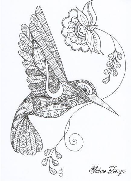 Fineliner tekeningen - Happy hummingbird zentangle - Een uniek product van Sabine-van-Ee op DaWanda
