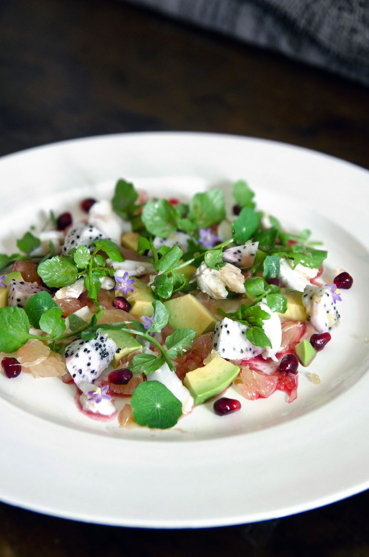 Pink pomelo salad with crab, avocado, dragon fruit & finger lime