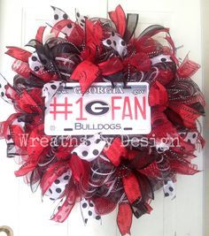 Georgia Football Wreath-Football Wreath-Front Door Wreath-Sports Wreath-Summer Wreath-Fall Wreath