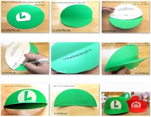 gorra visera de mario bros y luigi - Manualidades con fieltro, moldes y patrones gratis