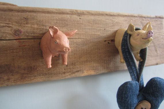 Modern wall hooks, childrens coat hooks, rustic home decor, wall organizer, upcycled driftwood hooks cool fun pigs hanger fun wall art hooks