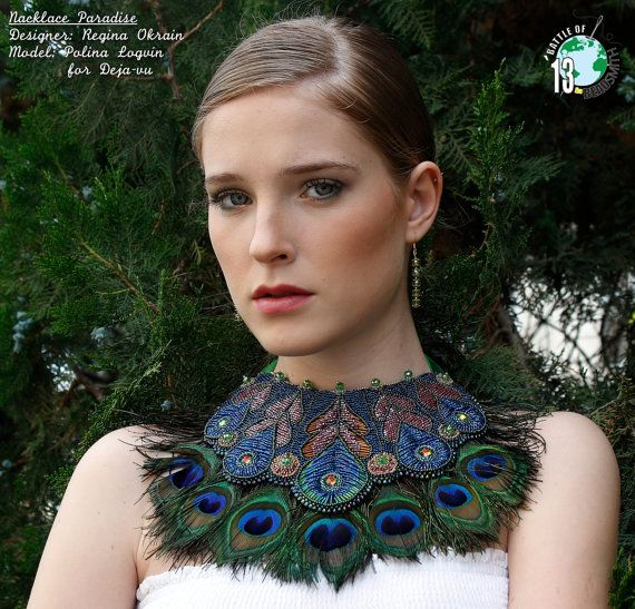 Embroidery beads necklace Paradise Swarovski Rivoli and by Reginao, $550.00