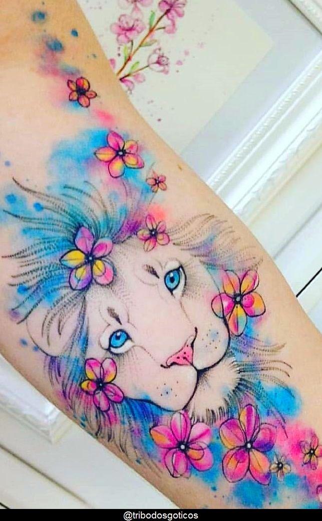 tattoo ideas female lion beautiful em 2020 | Tatuagem aquarela feminina, Tatuagens aquarela, Significado da tatuagem de leão