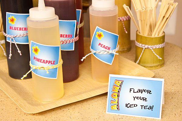 Food: Iced TEA-ki Bar Tropical Flavorings  {via Piggy Bank Parties}