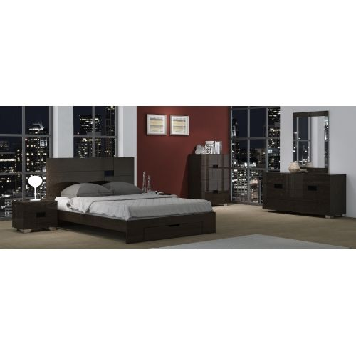 The Foxhill platform style bed has an MDF frame covered in a glossy walnut lacquer.  The bed has a grey mirror embelishment on the headboard for added interest.  Bed comes with slat support system, and only requries a mattress.   Bed can also be ordered in glossy light grey lacquer.   Set includes queen sized bed with slat support system, bed storage drawer, 2 night stands, dresser, mirror, and chest.