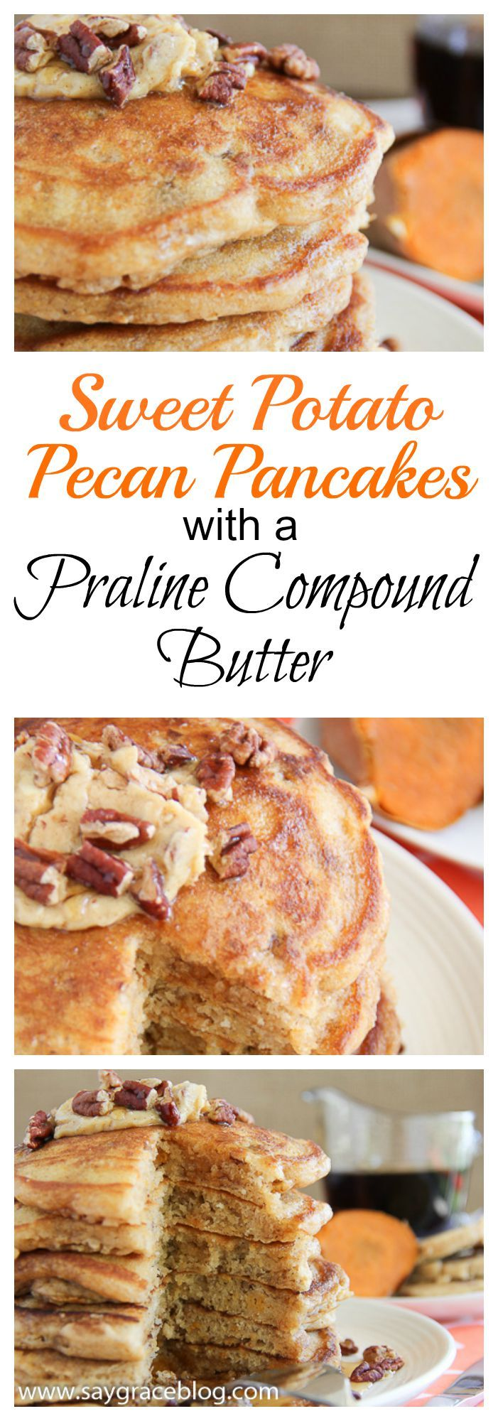 Light and fluffy sweet potato pancakes packed with toasted pecans and smeared with a delicious pecan praline compound butter!