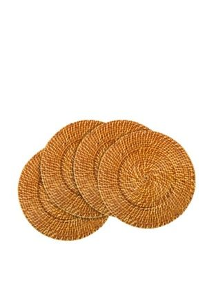 Core Bamboo Set of 4 Rattan and Bamboo Chargers (Cinnamon)
